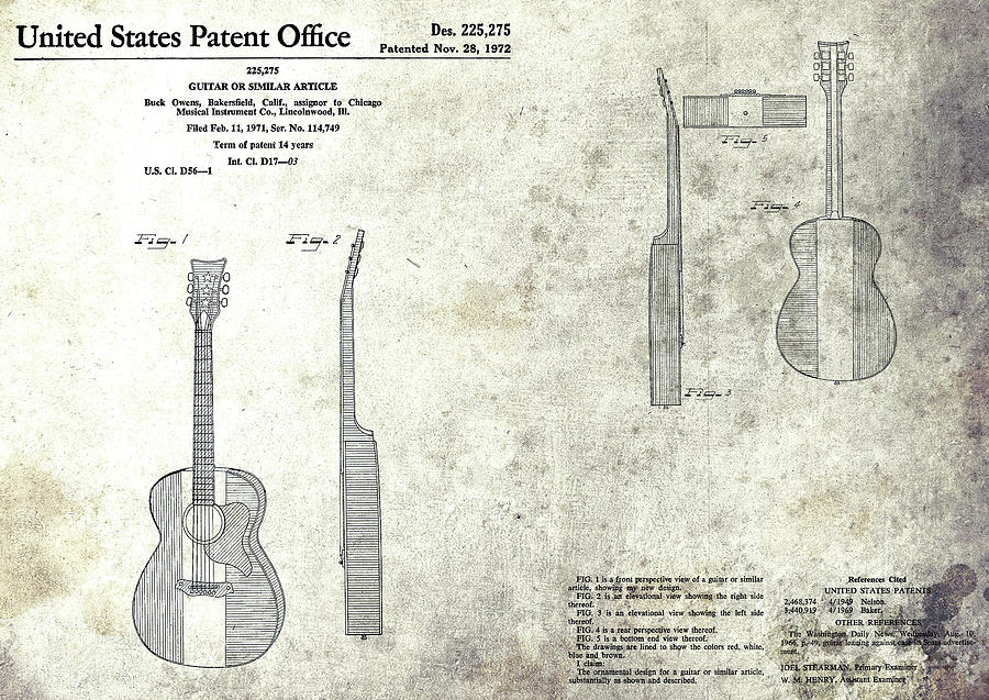 Musical Instrument Mixed Media - The Buck Owens Guitar Design by Dan Sproul