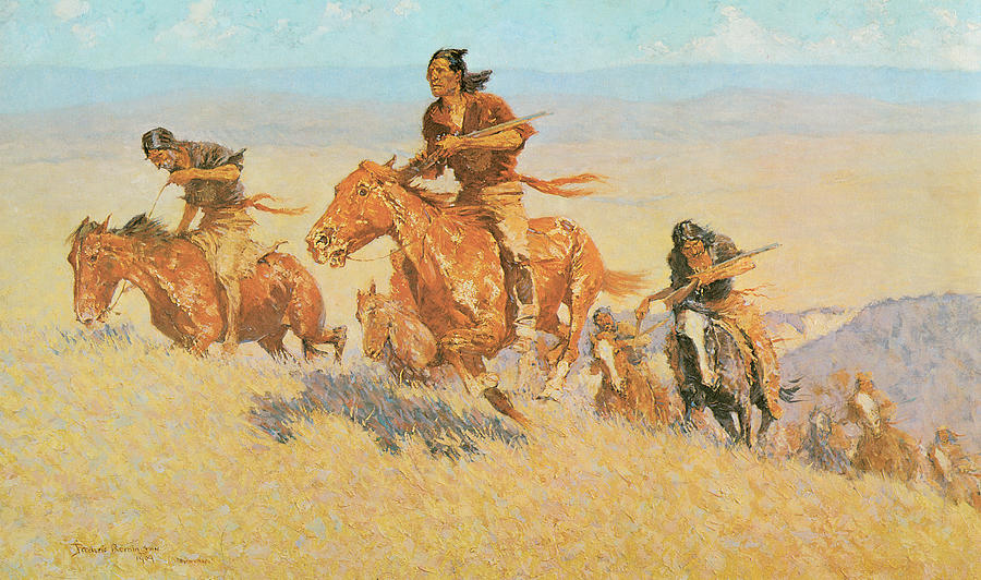 Frederic Remington Painting - The Buffalo Runners Big Horn Basin by Frederic Remington