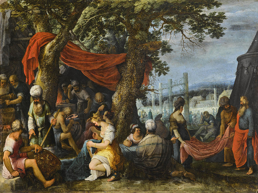 Religious Painting - The Building of the Tabernacle with the Israelites sewing the Curtains by Adriaen van Stalbemt