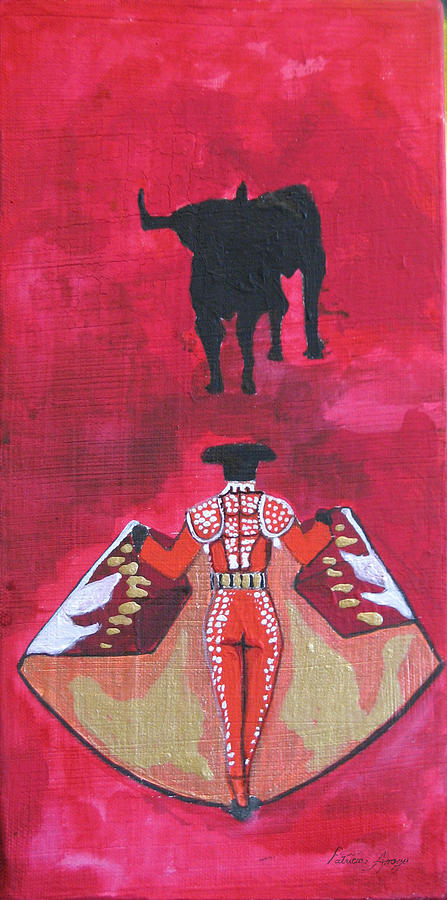 Bullfighter Painting - The Bull Fight  No.1 by Patricia Arroyo