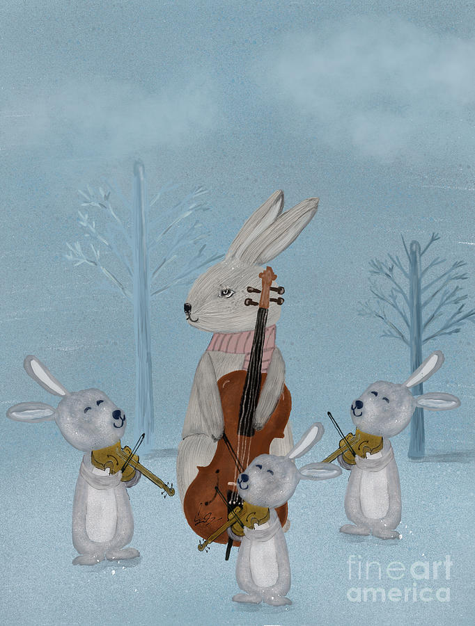 Music Painting - The Bunny Quartet by Bri Buckley