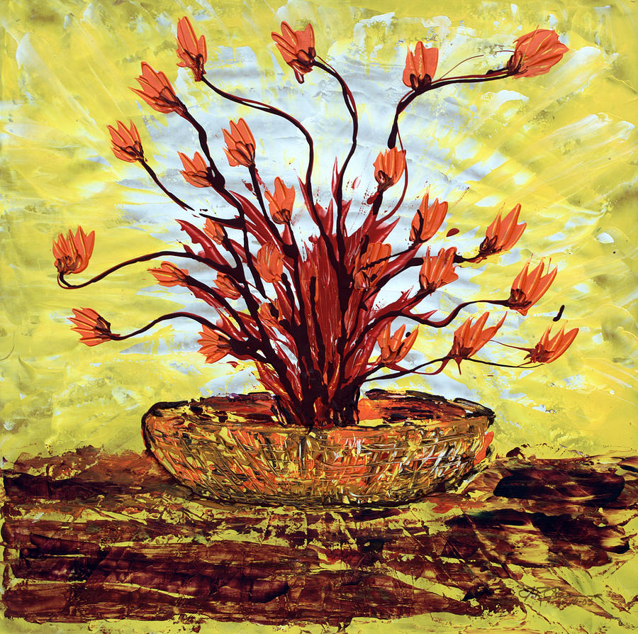 Red Bush Painting - The Burning Bush by J R Seymour