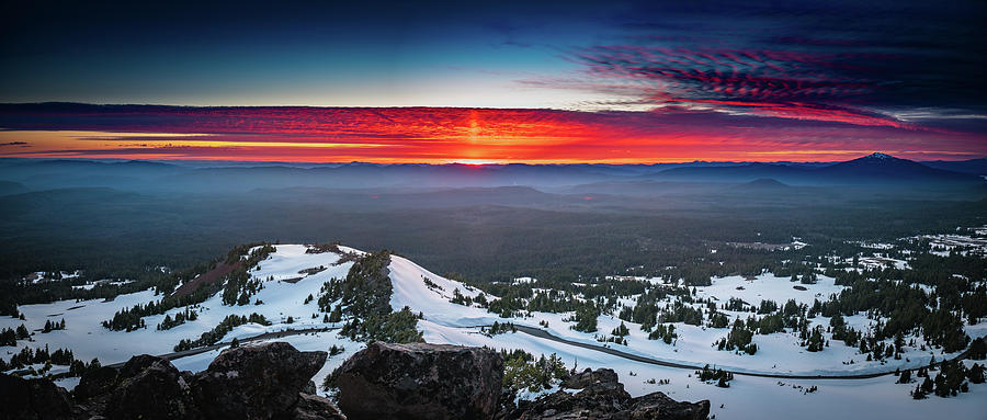 America Photograph - The Burning Clouds At Crater Lake by William Freebilly photography
