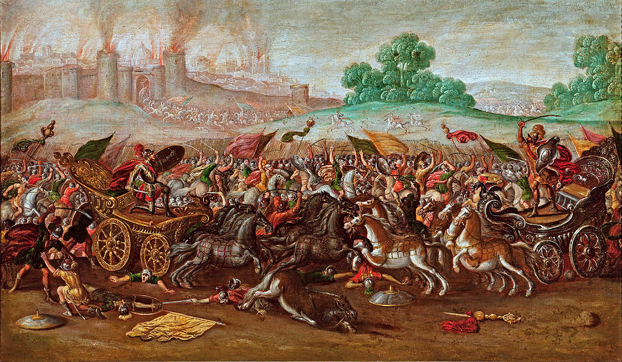 Army Painting - The Burning of Jerusalem by Nebuchadnezzars Army by Circle of Juan de la Corte