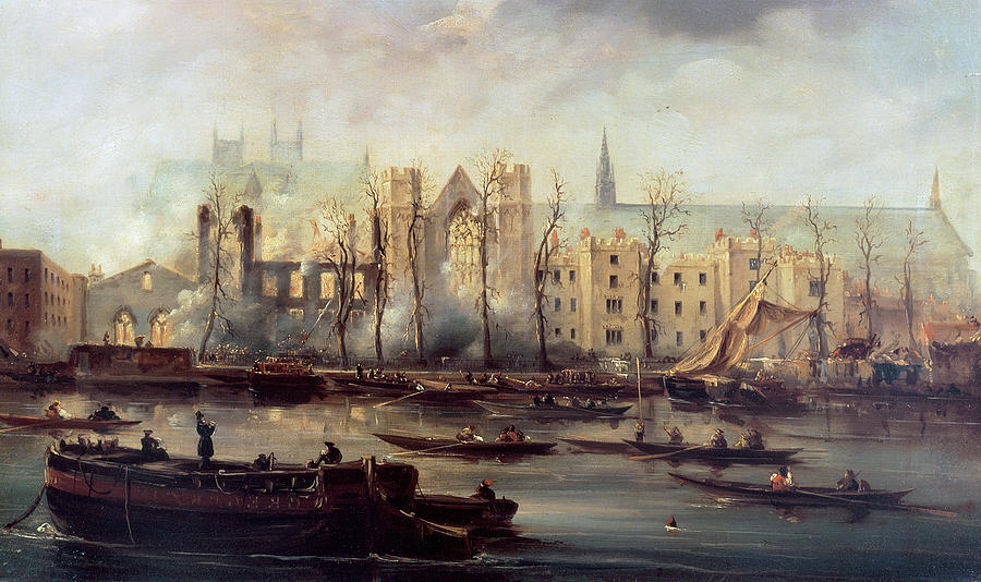 The Painting - The Burning Of The Houses Of Parliament by The Burning of the Houses of Parliament
