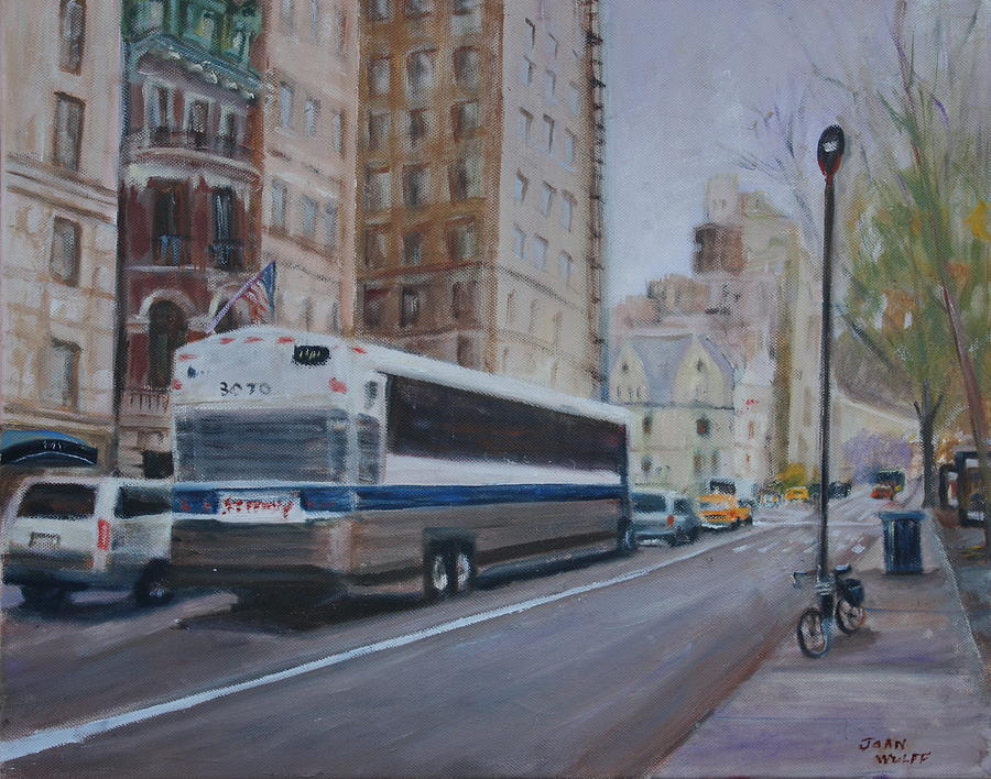 Cityscape Painting - The Bus In Nyc by Joan Wulff