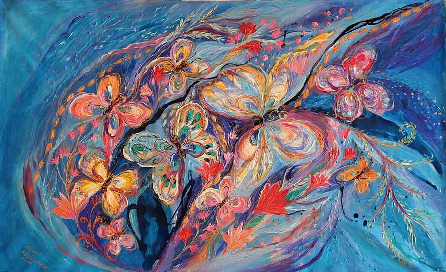 Judaica Store Painting - The Butterflies On Blue by Elena Kotliarker