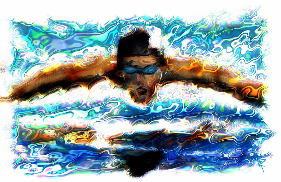 Swimmer Mixed Media - The Butterfly by Russell Pierce