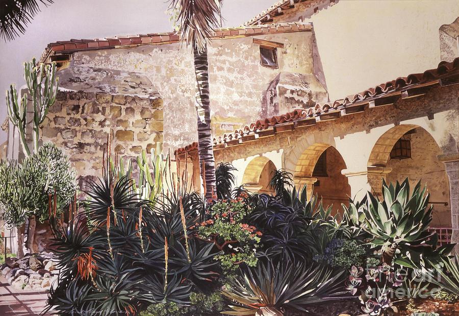 Watercolor Painting - The Cactus Courtyard - Mission Santa Barbara by David Lloyd Glover