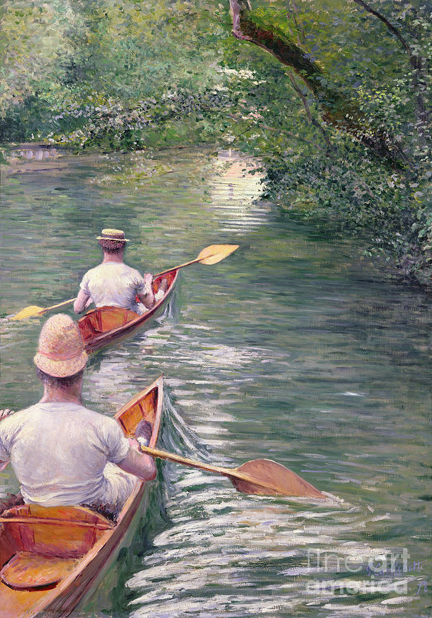 Rowing Painting - The Canoes by Gustave Caillebotte