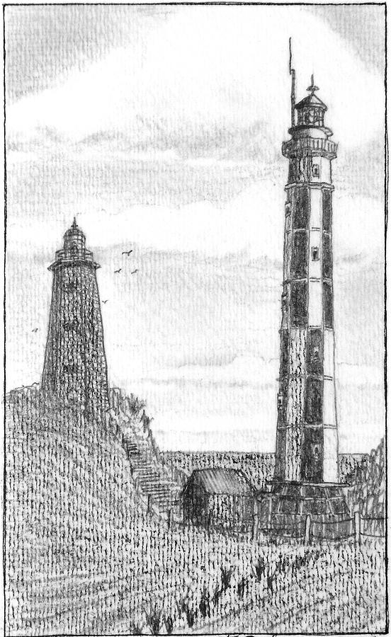 Lighthouse Drawing - The Cape Henry Light Houses by Vic Delnore