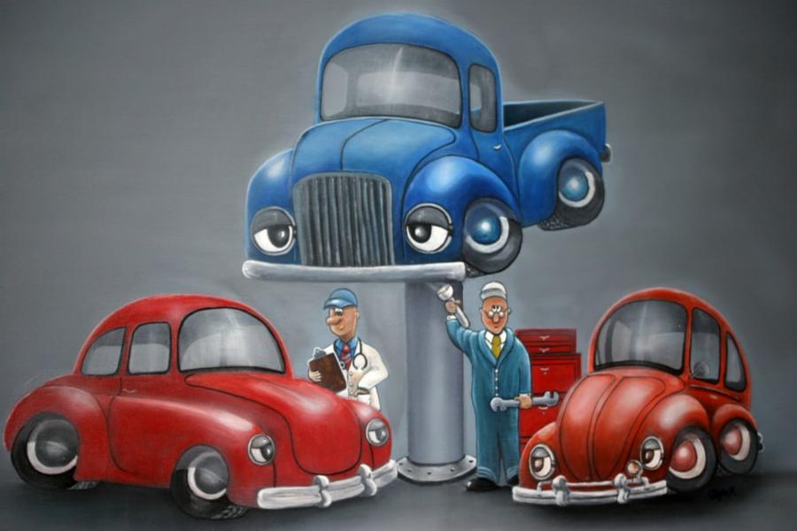 Cartoons Painting - The Car Hospital by Ofelia  Arreola