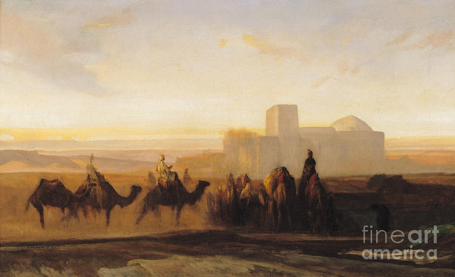 The Painting - The Caravan by Alexandre Gabriel Decamps