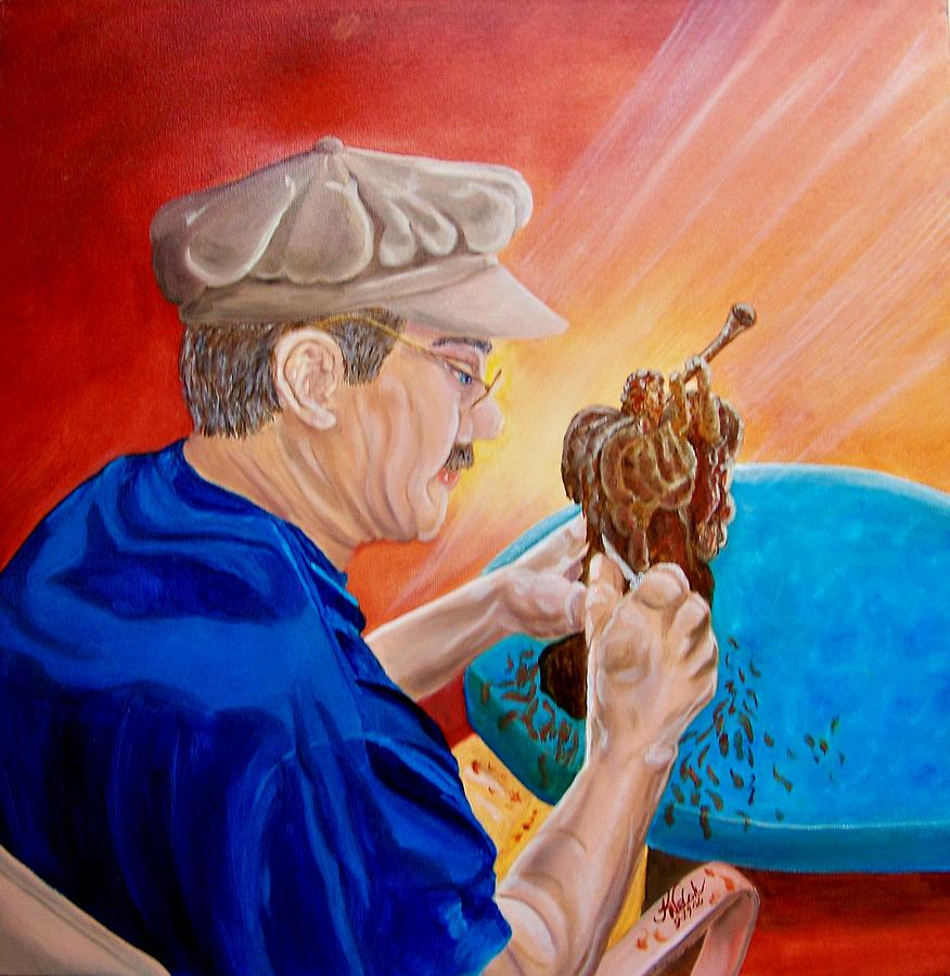 Portrait Painting - The Carver by Kathern Welsh
