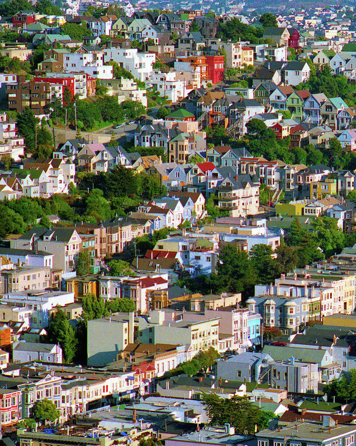 The Castro, Dolores Heights, Noe Valley, Summer Evening Light San Francisco Cityscape 1990, 1 Photograph