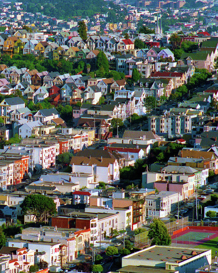 The Castro, Dolores Heights, Noe Valley, Summer Evening Light San Francisco Cityscape 1990, 2 Photograph