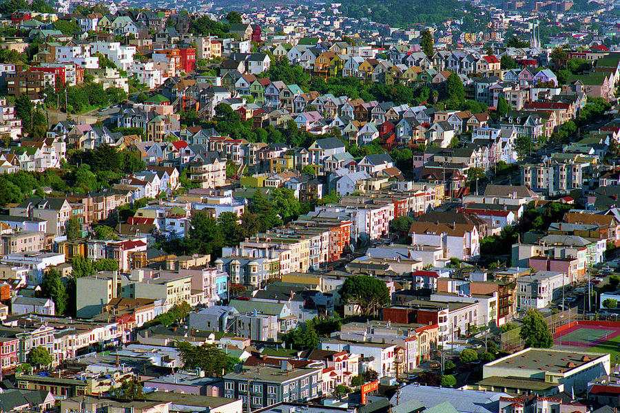 The Castro, Dolores Heights, Noe Valley, Summer Evening Light San Francisco Cityscape 1990 Photograph