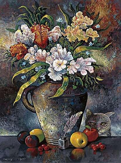 Vase Painting - The Cat And The Quill by Robert Lyn Nelson