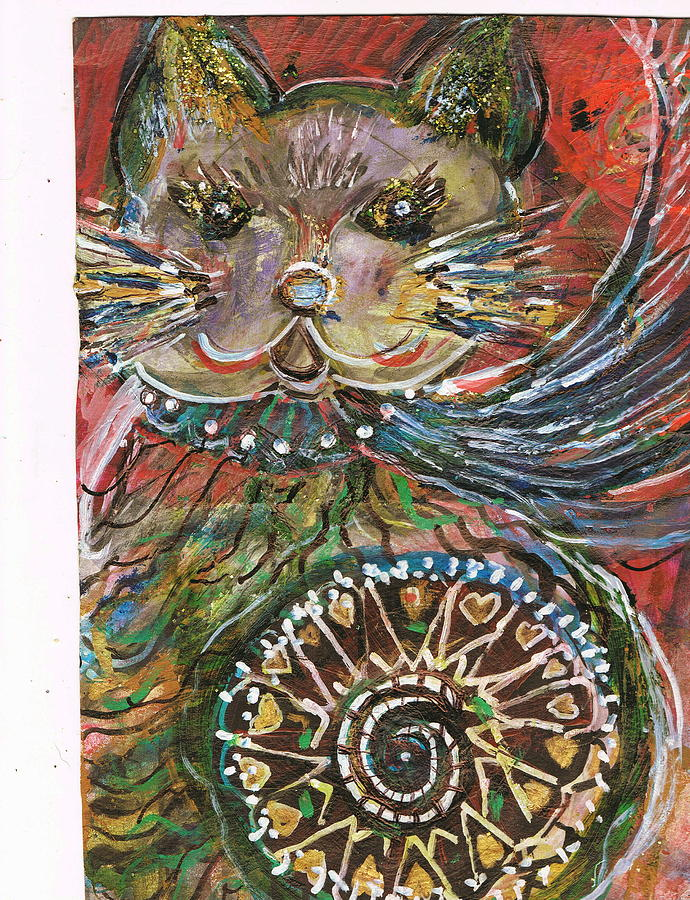 Cat Painting - The Cat And The Wheel by Anne-Elizabeth Whiteway