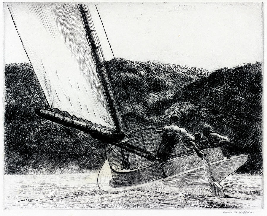 Edward Hopper Drawing - The Cat Boat by Edward Hopper