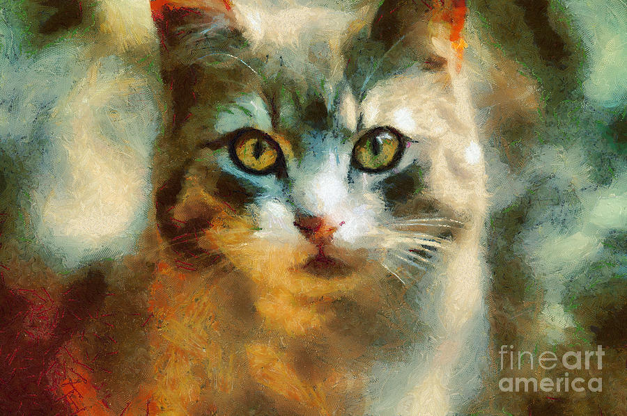 Painting Painting - The Cat Eyes by Dimitar Hristov