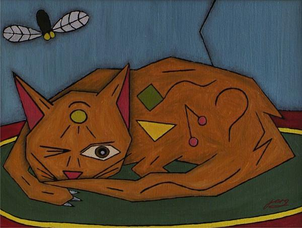Cat Painting - The Cat by Sergey Larionov