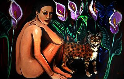 Nude Painting - The Cat Who Walked By Itself by Ana M  Berry