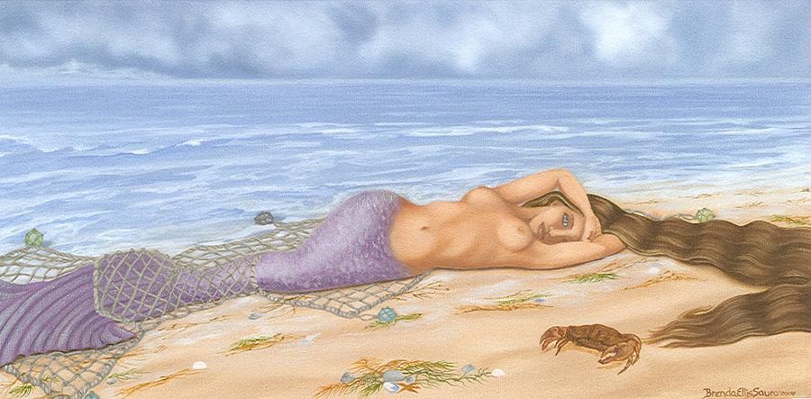 Mermaids Painting - The Catch by Brenda Ellis Sauro