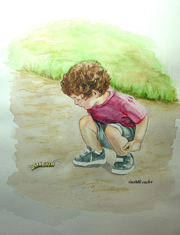 Children Painting - The Caterpillar by JoAnne Castelli-Castor