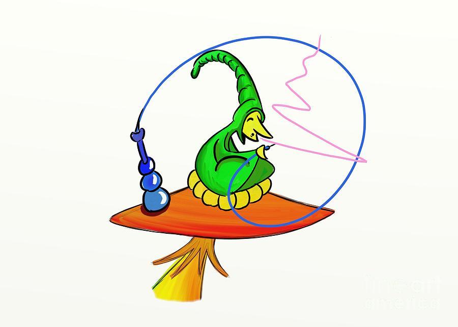 Cartoon Digital Art - The Caterpillar by John Mckeever