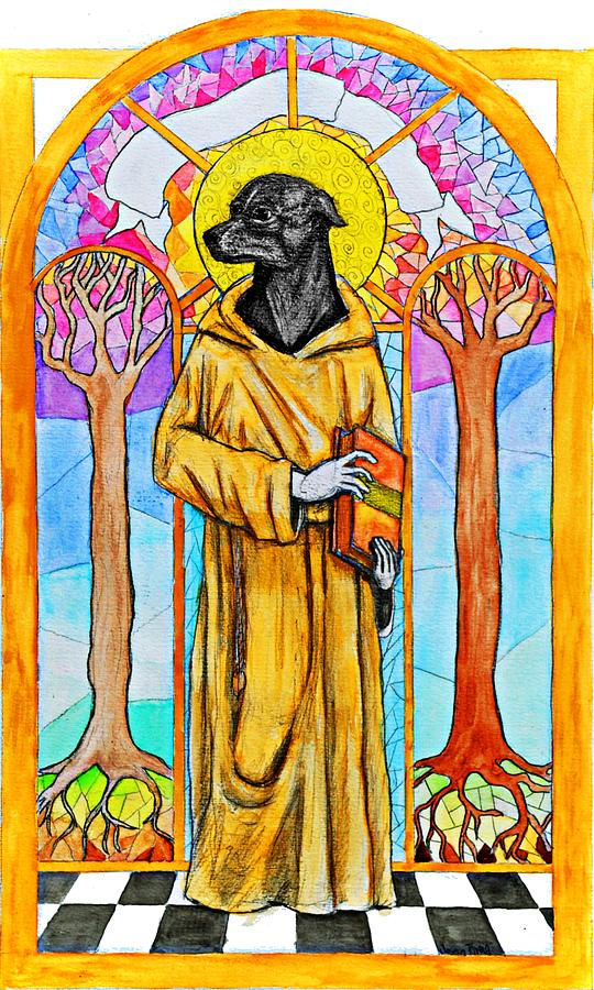 Dog Painting - The Cautious Saint by Josean Rivera