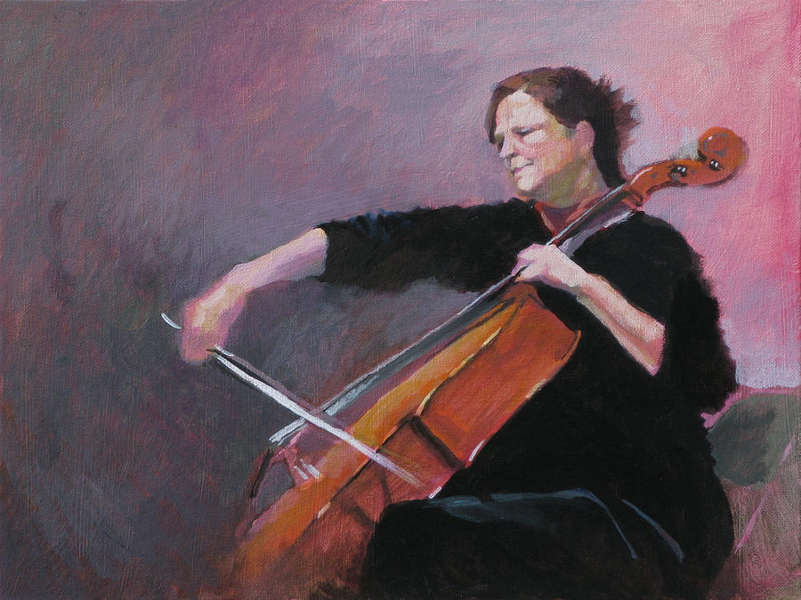 Cello Painting - The Cellist by Robert Bissett