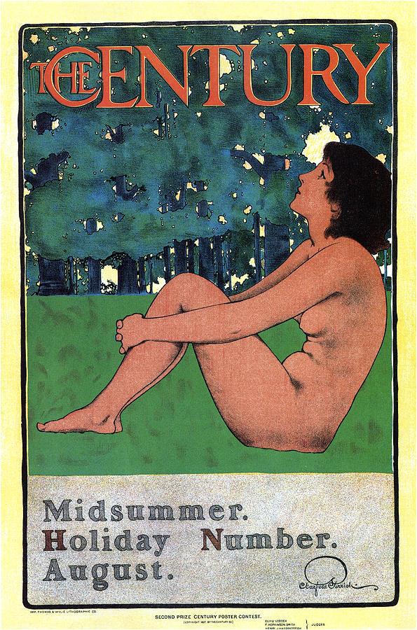 The Century - August - Magazine Cover - Vintage Art Nouveau Poster Mixed Media