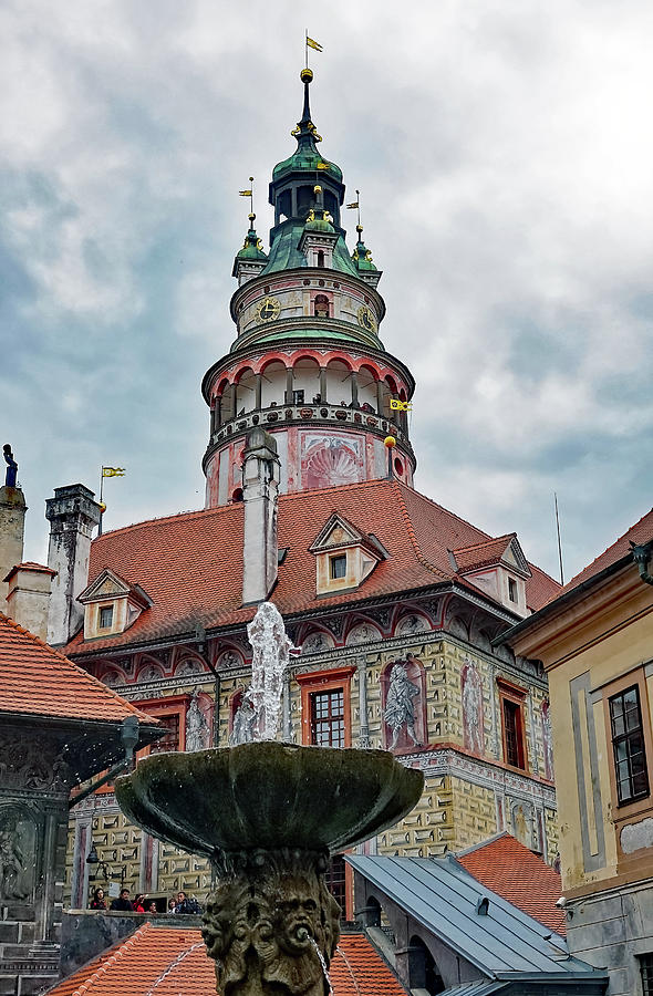 Fountain Photograph - The Cesky Krumlov Castle Tower With A Fountain Below Within The Czech Republic by Richard Rosenshein