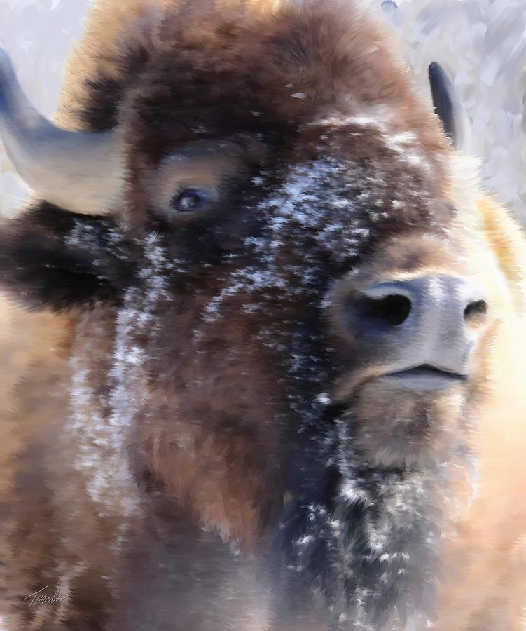 American Bison Painting - The Challenge by Trula Walker