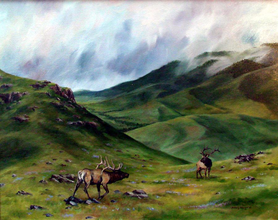 Elk Painting - The Challenger by David  Maynard