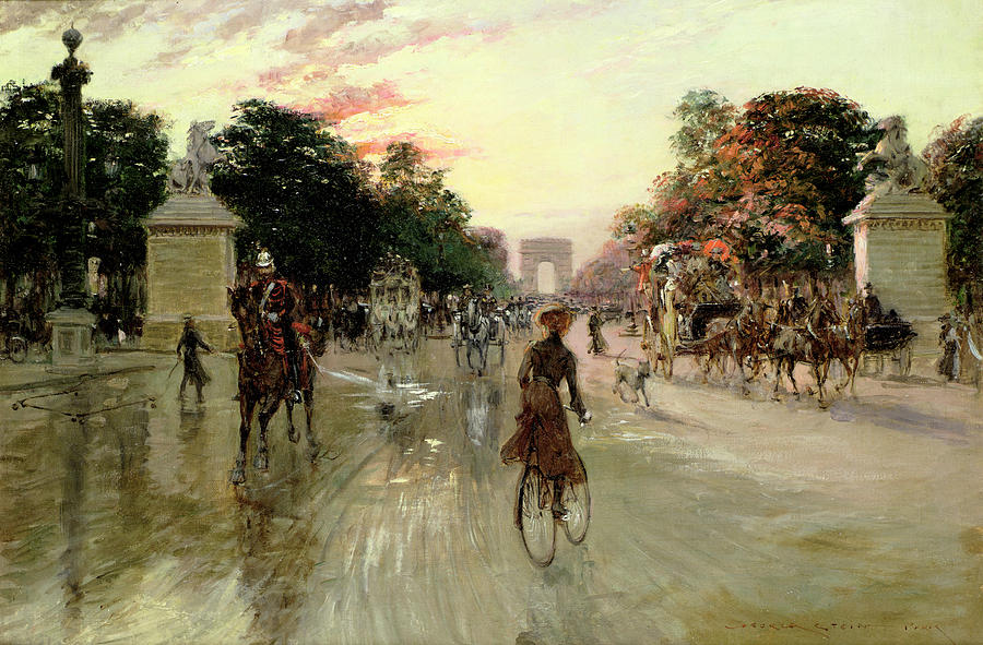 The Painting - The Champs Elysees - Paris by Georges Stein