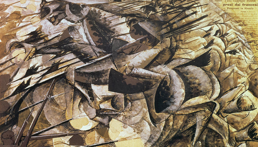 Abstract Painting - The Charge Of The Lancers by Umberto Boccioni