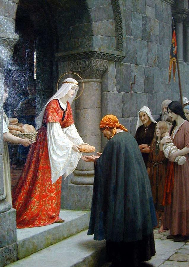 Beautiful Painting - The Charity of Saint Elizabeth of Hungary  Edmund Blair Leighton by Edmund Blair Leighton
