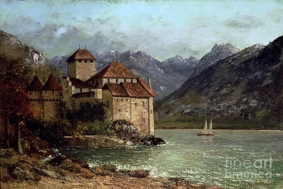 The Painting - The Chateau De Chillon by Gustave Courbet