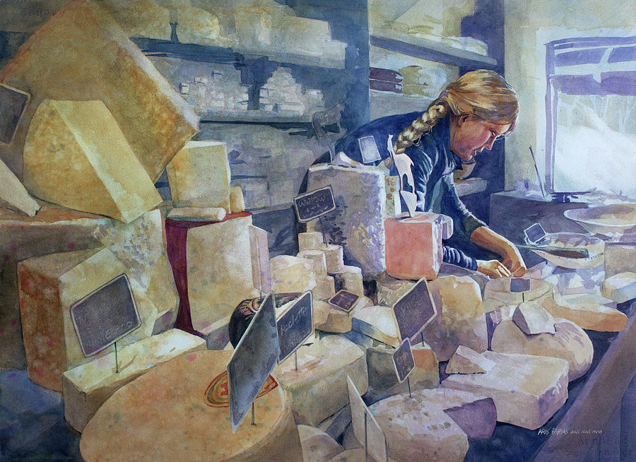 Watercolor Painting - The Cheese Shoppe by Kris Parins