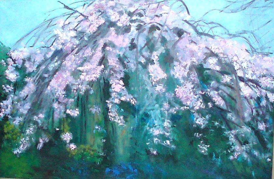 Landscape Painting - The Cherry Blossom by Krystyna Suchwallo