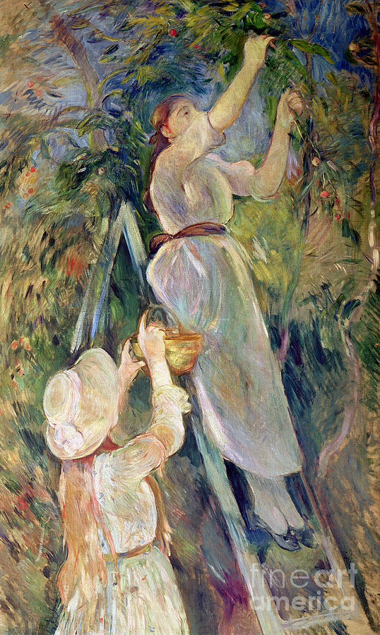 The Painting - The Cherry Picker by Berthe Morisot