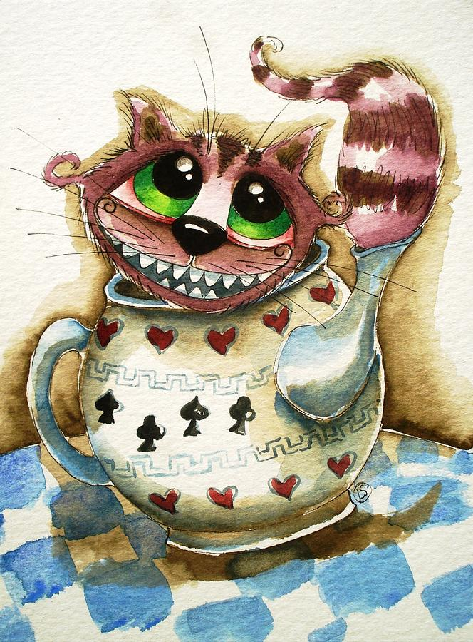 Cheshire Painting - The Cheshire Cat - In A Teapot by Lucia Stewart
