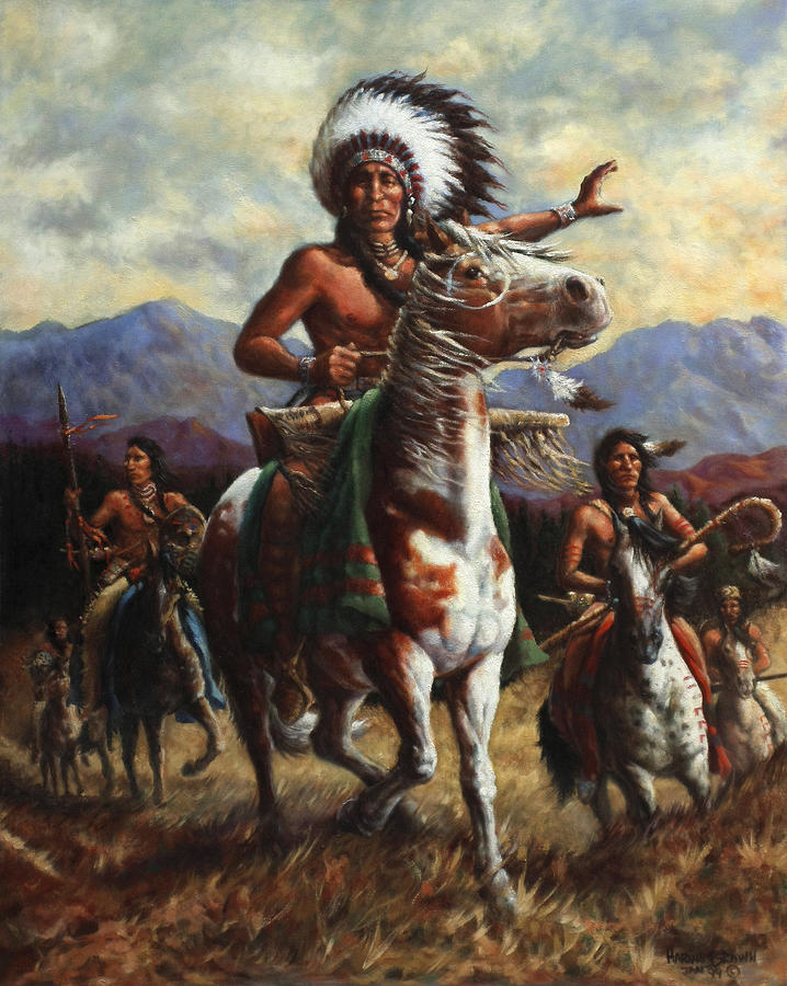 Native American Painting - The Chief by Harvie Brown