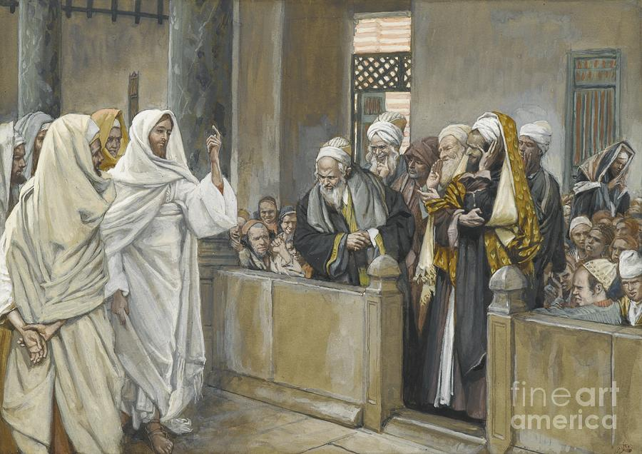 Pharisees;tissot Painting - The Chief Priests Ask Jesus By What Right Does He Act In This Way by James Jacques Joseph Tissot