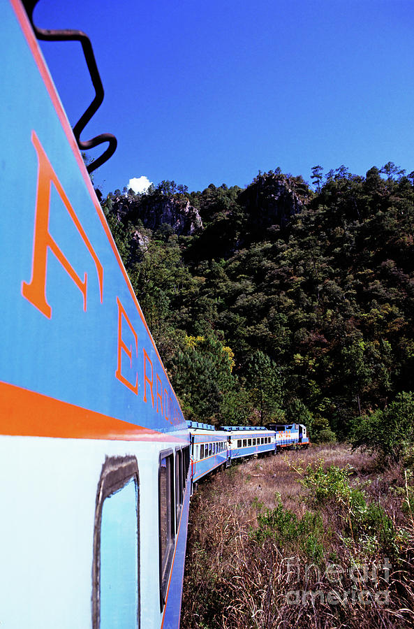 Chihuahua Photograph - The Chihuahua-pacific Railway Travelling Through The Copper Canyon by Sami Sarkis