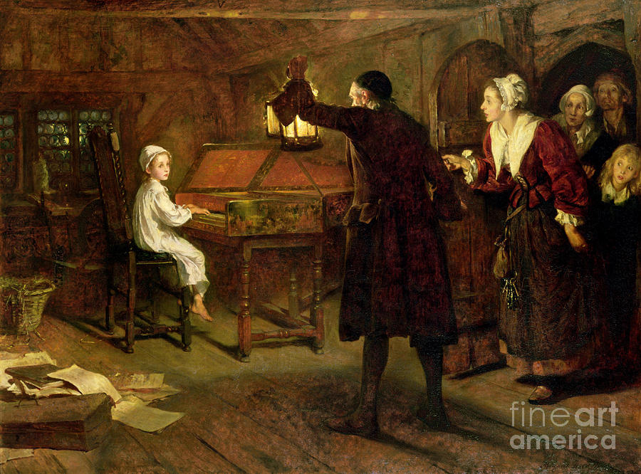Room Painting - The Child Handel Discovered By His Parents by Margaret Isabel Dicksee