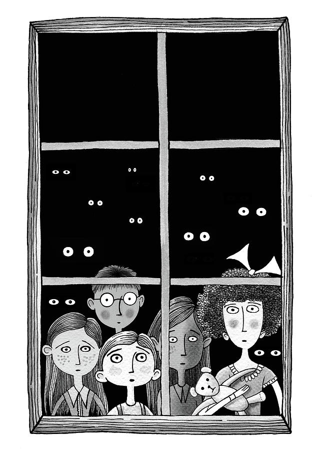 Children Drawing - The Children In The Window by Andrew Hitchen