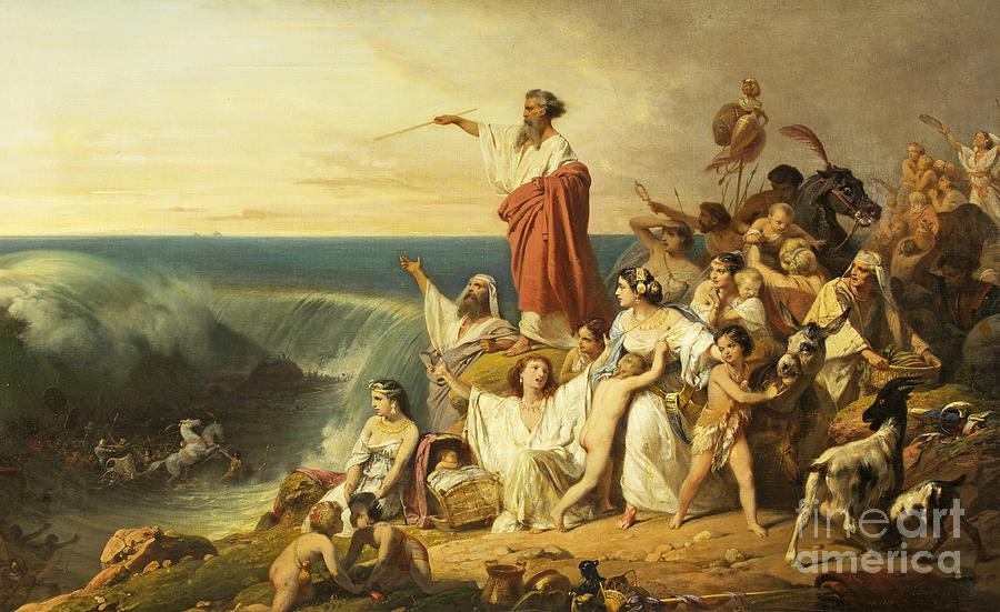 The Children Of Israel Crossing The Red Sea Painting by ... Moses Painting